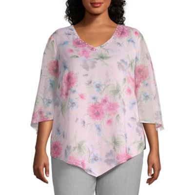 Alfred Dunner Plus Primrose Garden-Womens Scoop Neck 3/4 Sleeve T-Shirt