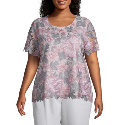 Alfred Dunner Plus Primrose Garden-Womens Round Neck Short Sleeve T-Shirt
