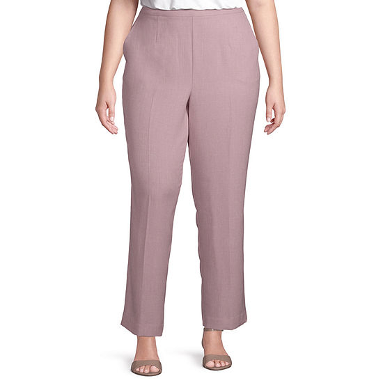 Alfred Dunner-Plus Primrose Garden Womens Straight Flat Front Pant