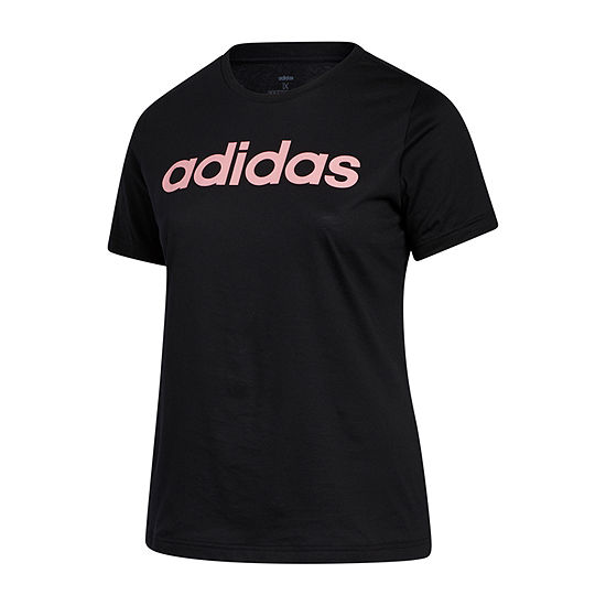adidas Ad Linear Logo Tee Womens Crew Neck Short Sleeve T-Shirt Plus