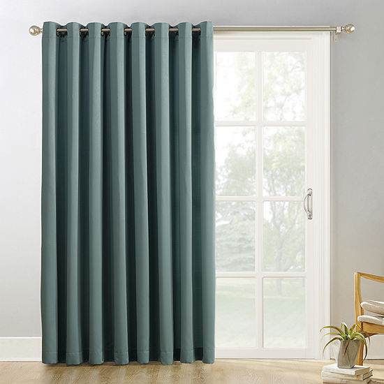 Sun Zero Evan Light-Filtering Grommet-Top Single Patio Door Curtain