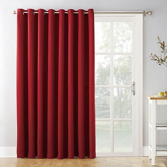 Sun Zero Evan Light-Filtering Grommet-Top Single Patio Door Curtain