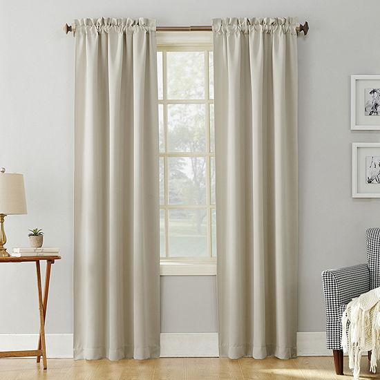 Sun Zero Evan Energy Saving Blackout Rod-Pocket Single Curtain Panel