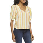 a.n.a-Tall Womens V Neck Short Sleeve Blouse