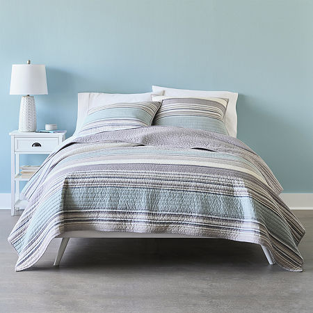 Home Expressions Reagan Stripe Quilt, One Size , Blue