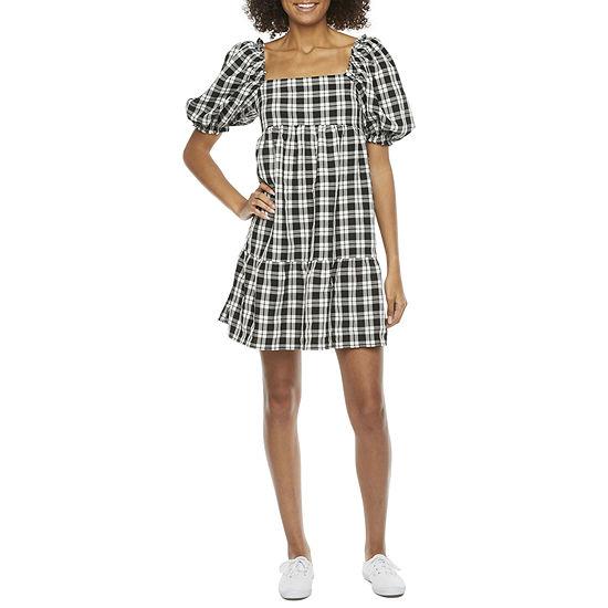 B. Smart Short Sleeve Babydoll Dress-Juniors