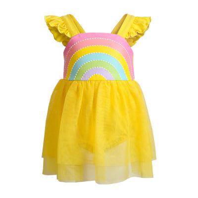 Sweetheart Rose Baby Girls Short Sleeve Flutter Sleeve Tutu Dress