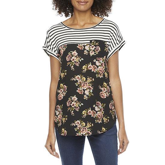 Rewind Womens Juniors Boat Neck Short Sleeve T-Shirt