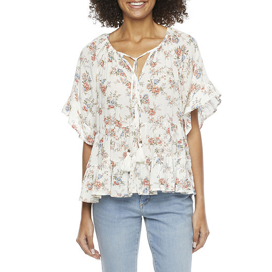 Rewind-Juniors Womens Split Tie Neck Short Sleeve Blouse