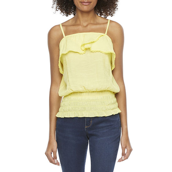 by&by-Juniors Womens Square Neck Sleeveless Blouse