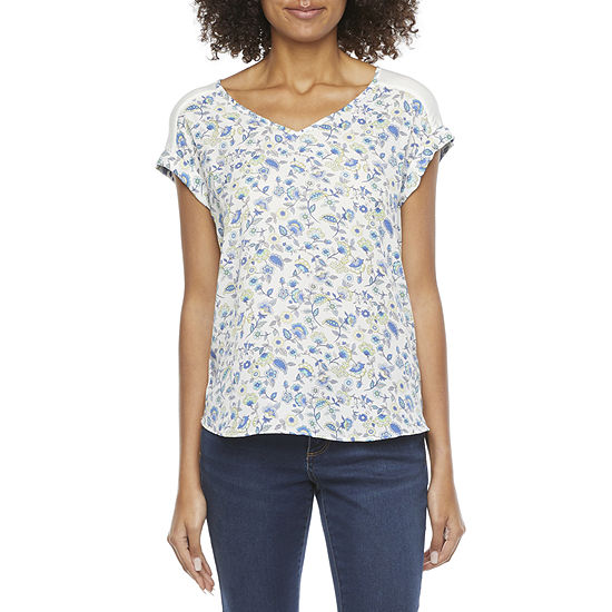 by&by-Juniors Womens V Neck Short Sleeve Knit Blouse