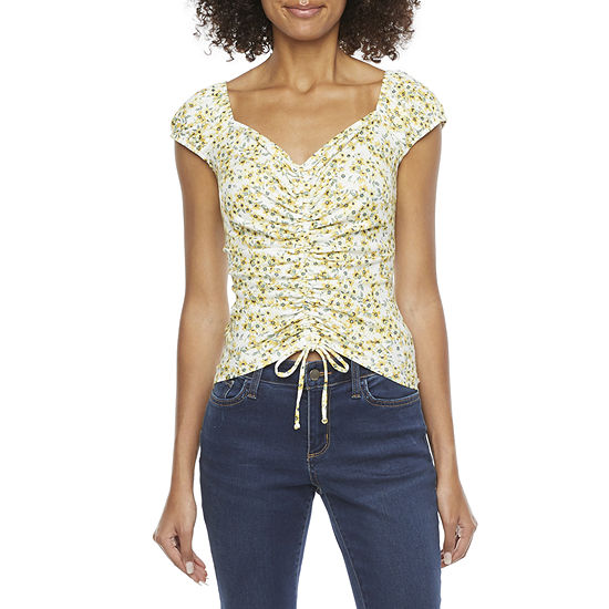 by&by-Juniors Womens Sweetheart Neck Short Sleeve Knit Blouse