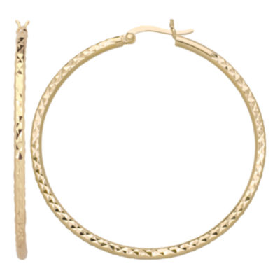 14K Gold Over Silver Diamond-Cut Hoop Earrings