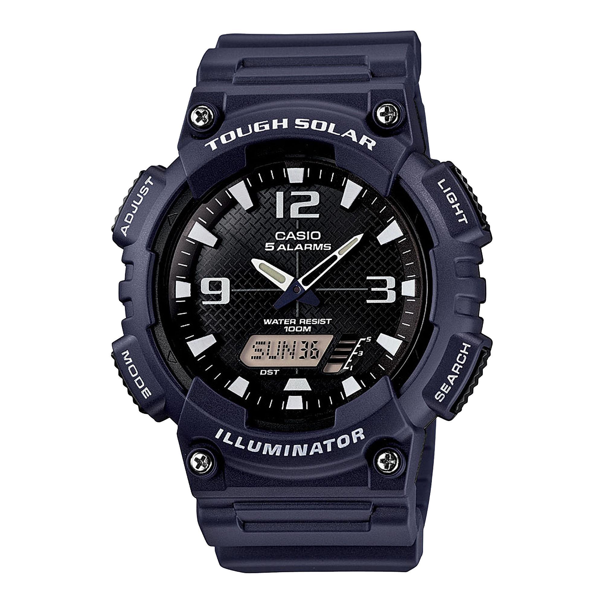 Casio Mens Black Dial Blue Resin Strapl Solar Sport Watch AQ-S810W-2A2