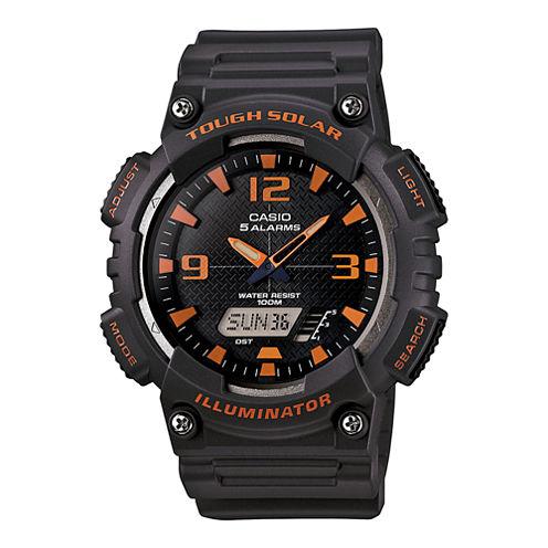 Casio® Mens Black Dial Gray Resin Strap Solar Sport Watch AQ-S810W-8A