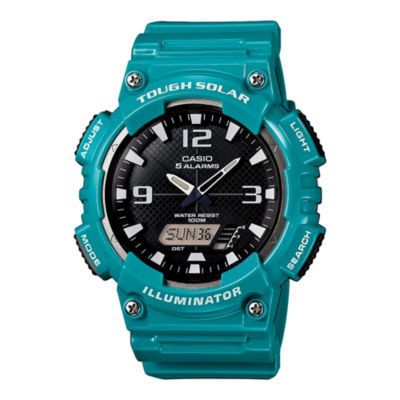 Casio® Mens Black Dial Teal Resin Strap Solar Sport Watch AQ-S810WC-3A
