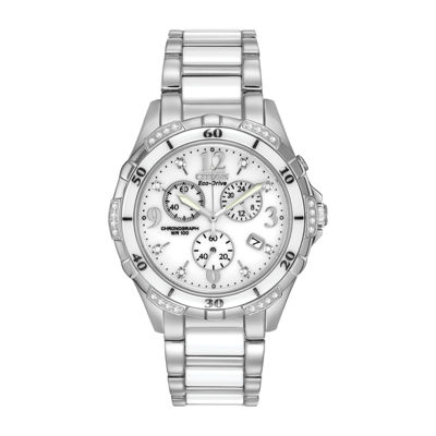 Citizen® Womens White Ceramic Diamond-Accent Watch FB1230-50A