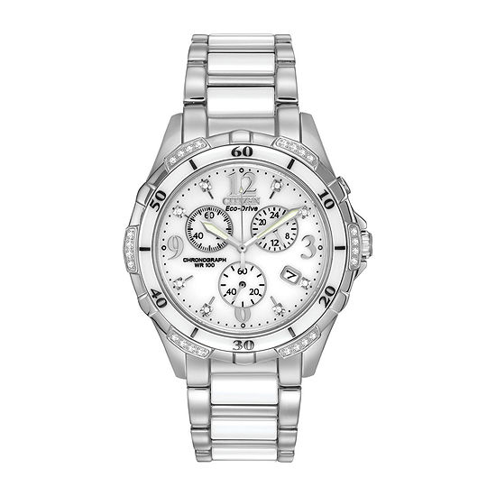 Citizen Silhouette Diamond Womens Chronograph Silver Tone Stainless Steel Bracelet Watch - Fb1230-50a
