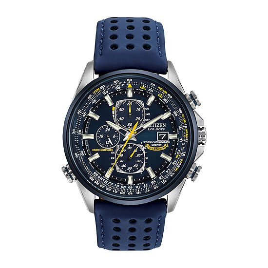 Citizen World Chronograph A-T Mens Chronograph Multi-Function Atomic Time Blue Leather Strap Watch-At8020-03l