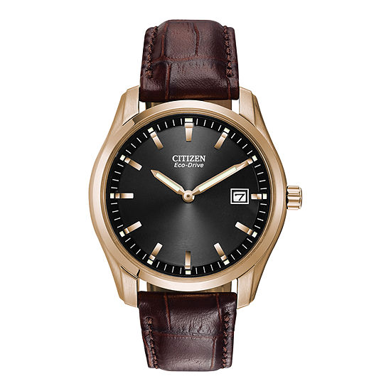 Citizen Corso Mens Brown Leather Strap Watch-Au1043-00e