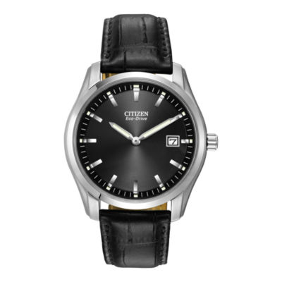 Citizen® Eco-Drive® Mens Black Leather Watch AU1040-08E