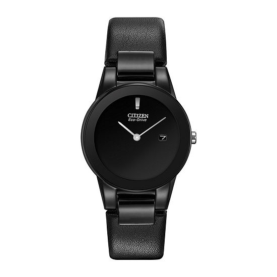 Citizen Axiom Womens Black Leather Strap Watch-Ga1055-06e