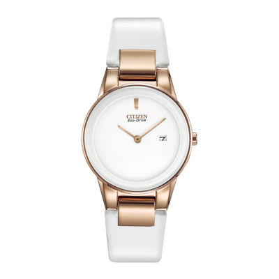 Citizen® Eco-Drive® Axiom Womens Rose-Tone White Leather Strap Watch GA1053-01A