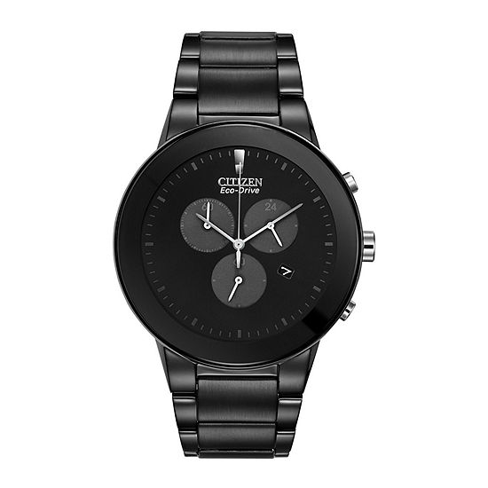 Citizen Axiom Mens Chronograph Black Stainless Steel Bracelet Watch-At2245-57e