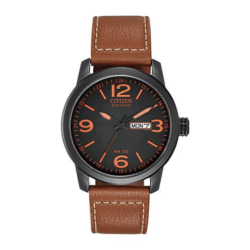 Citizen® Eco-Drive® Mens Black & Orange Leather Strap Watch BM8475-26E