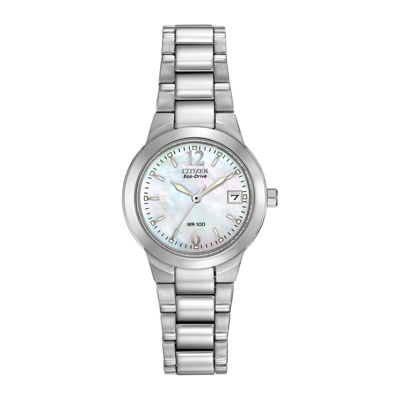 Citizen® Eco-Drive® Womens Silver-Tone Mother-of-Pearl Watch EW1670-59D