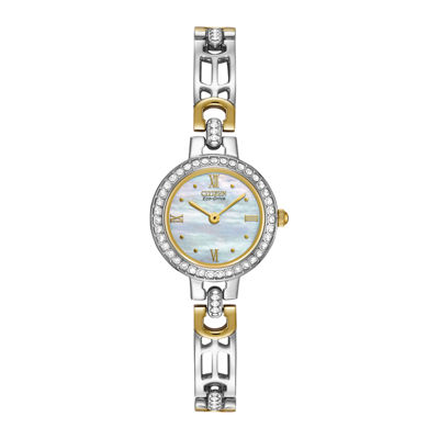 Citizen® Eco-Drive® Womens Crystal-Accent Two-Tone Bracelet Watch EW8464-52D