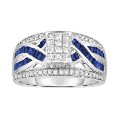 ½ CT. T.W. Diamond & Sapphire Ring