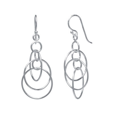 Silver-Plated Triple-Circle Mobile Earrings