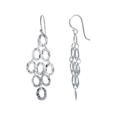 Silver Reflections™ Silver-Plated Hammered Oval Cluster Drop Earrings