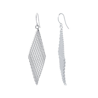 Silver-Plated Mesh Kite Earrings