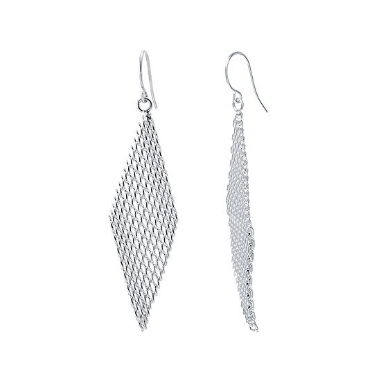 Silver Plated Mesh Kite Earrings