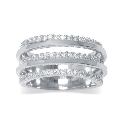 Cubic Zirconia Silver-Plated 5-Row Ring