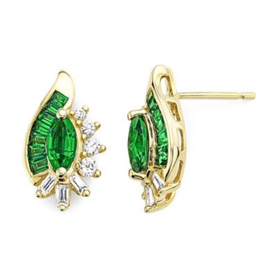 Lab-Created Emerald & Lab-Created White Sapphire 14K Gold Over Silver Earrings