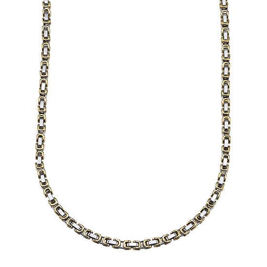 Mens Two-Tone Stainless Steel Link Chain Necklace