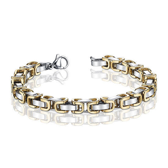 Mens Two Tone Stainless Steel Byzantine Chain Bracelet