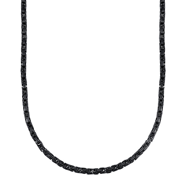 Mens Black Ion-Plated Stainless Steel Byzantine Chain Necklace