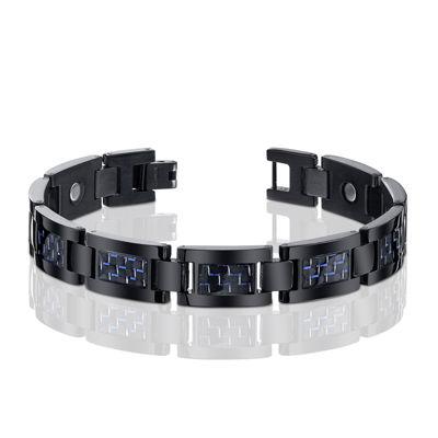 Mens Black Titanium with Blue Carbon Fiber Inlay Bracelet