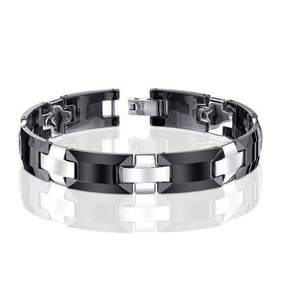 Mens Stainless Steel and Ceramic Link Bracelet