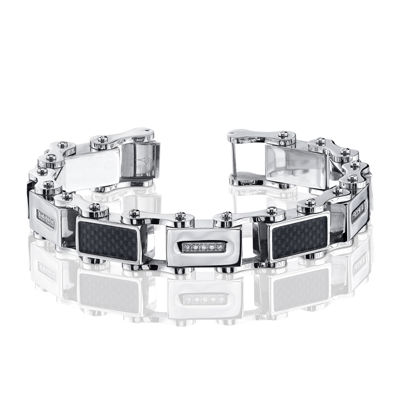 Mens 1/7 CT. T.W. Diamond Stainless Steel and Carbon Fiber Bracelet