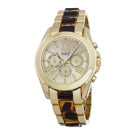 Burgi Womens Gold-Tone Tortoise Bracelet Watch