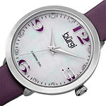 Burgi Womens Purple Mother Of Pearl Strap Watch