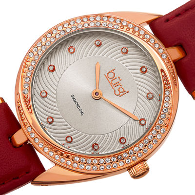 bürgi Womens Diamond-Accent Rose-Tone Bezel Red Leather Strap Watch