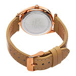 Burgi Womens Tan and Rose Gold Tone Strap Watch