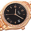 Burgi Womens Black and Rose Gold Tone Bracelet Watch