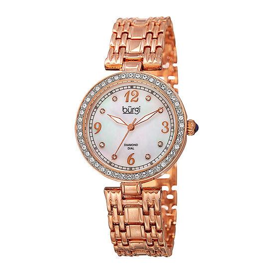 Burgi Womens White Dial Rose-Tone Bracelet Watch